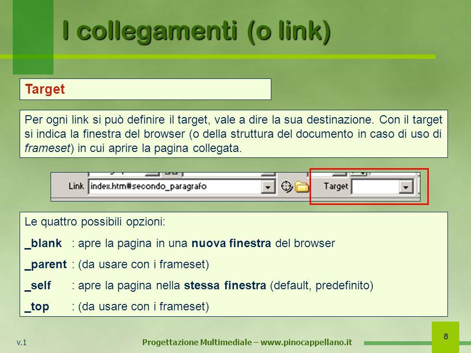 v.1 Progettazione Multimediale – www.pinocappellano.it 8 I collegamenti (o link) Target Per ogni link si può definire il target, vale a dire la sua destinazione.