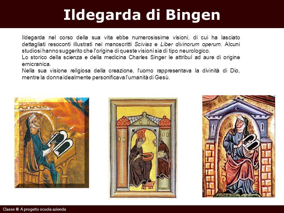 Ildegarda di Bingen Classe III A progetto scuola-azienda Ildegarda nel corso della sua vita ebbe numerosissime visioni, di cui ha lasciato dettagliati