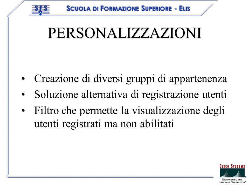 PERSONALIZZAZIONI Creazione di diversi gruppi di appartenenza Soluzione alternativa di registrazione utenti Filtro che permette la visualizzazione degli utenti registrati ma non abilitati