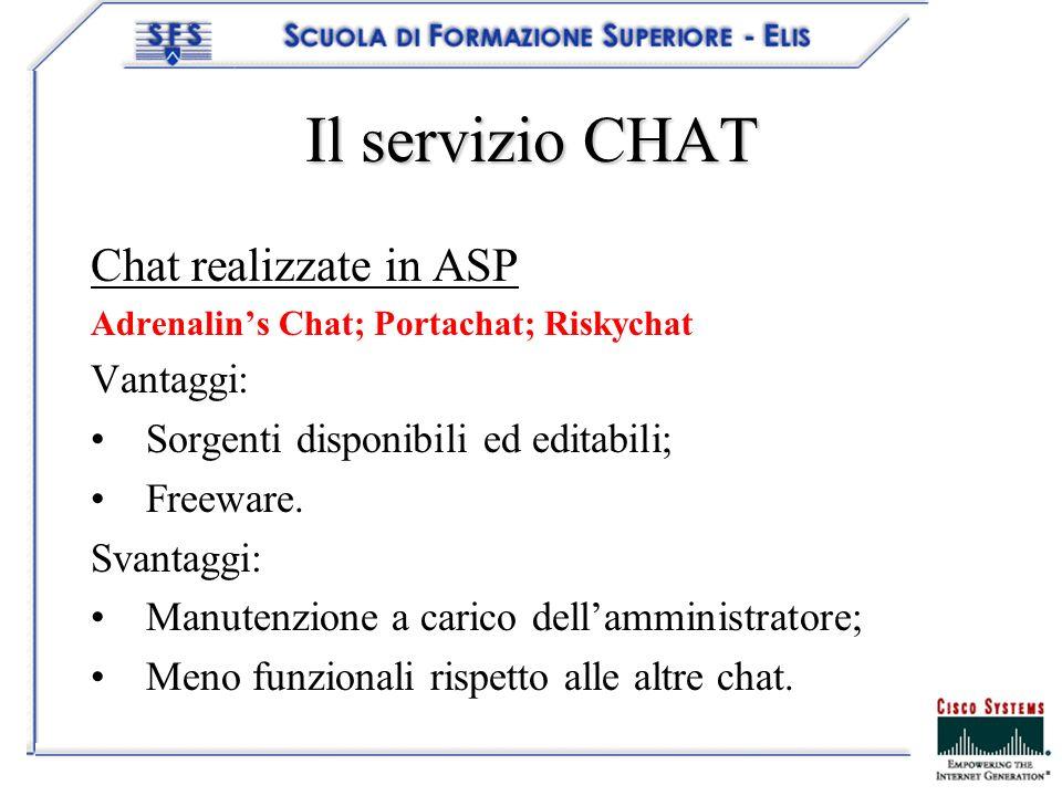 Il servizio CHAT Chat realizzate in ASP Adrenalins Chat; Portachat; Riskychat Vantaggi: Sorgenti disponibili ed editabili; Freeware. Svantaggi: Manute