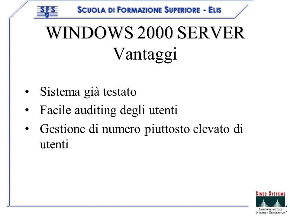 WINDOWS 2000 SERVER WINDOWS 2000 SERVER Vantaggi Sistema già testato Facile auditing degli utenti Gestione di numero piuttosto elevato di utenti