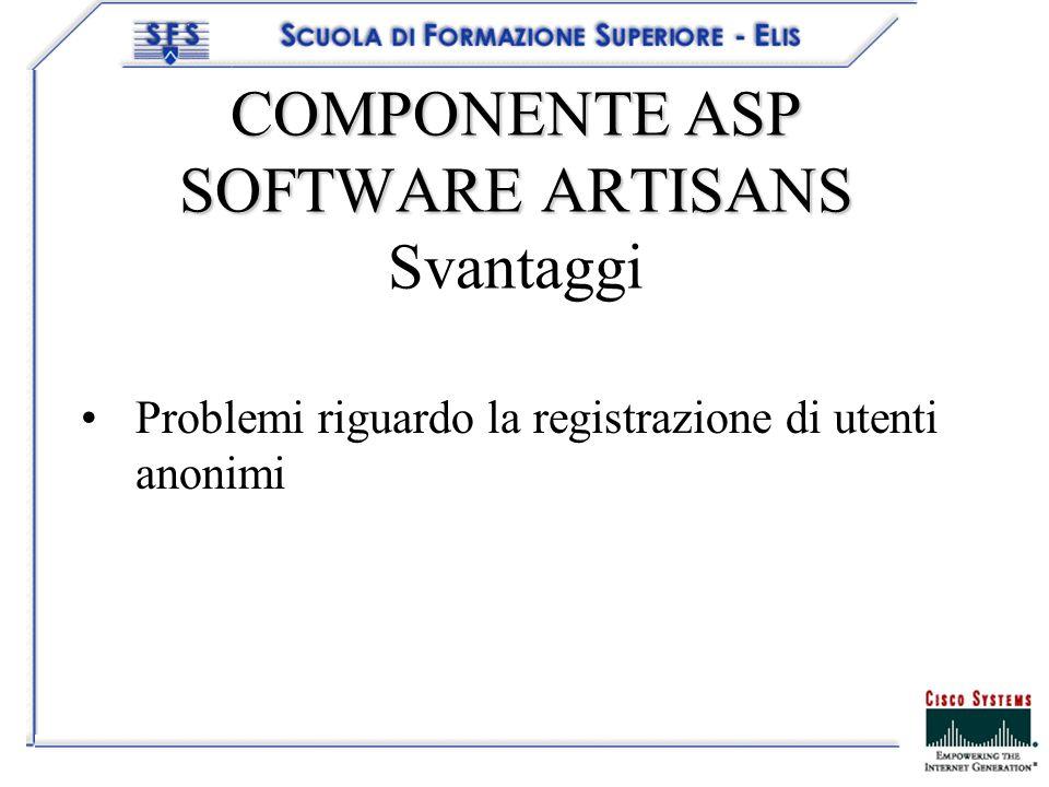 COMPONENTE ASP SOFTWARE ARTISANS COMPONENTE ASP SOFTWARE ARTISANS Svantaggi Problemi riguardo la registrazione di utenti anonimi