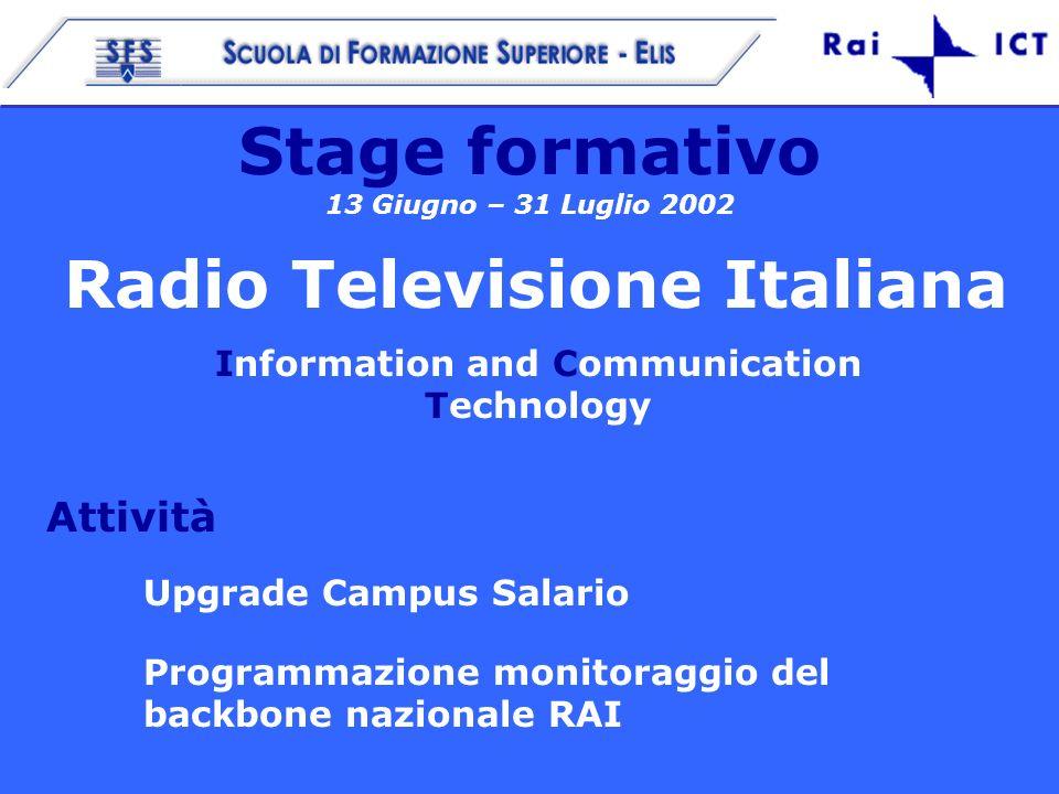 13 Giugno – 31 Luglio 2002 1 Stage formativo 13 Giugno – 31 Luglio 2002 Radio Televisione Italiana Information and Communication Technology Attività Upgrade Campus Salario Programmazione monitoraggio del backbone nazionale RAI