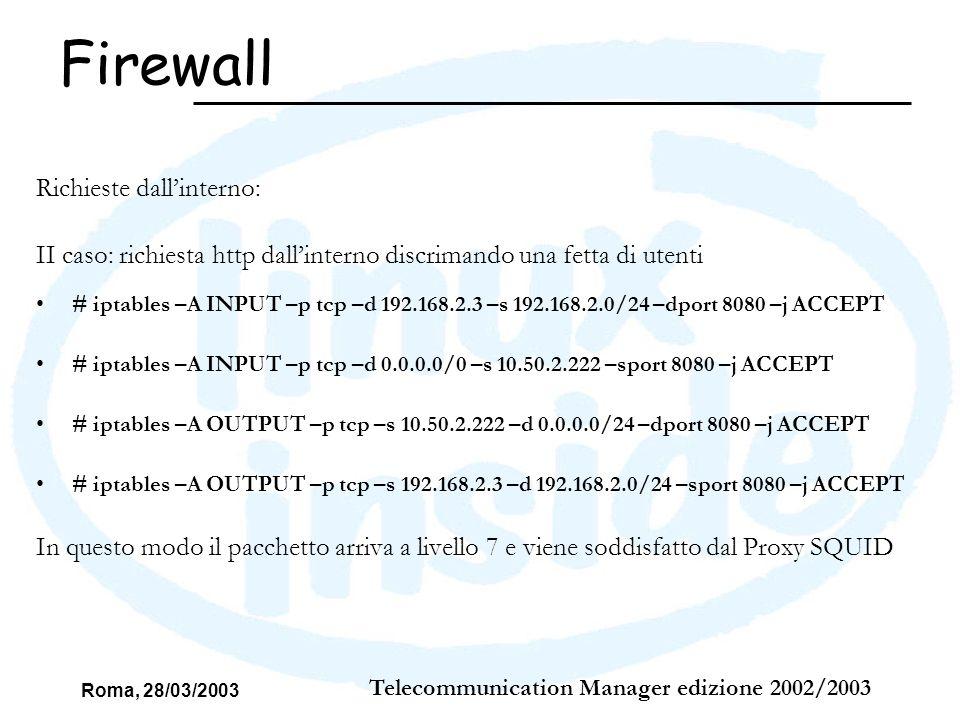 Roma, 28/03/2003 Telecommunication Manager edizione 2002/2003 Richieste dallinterno: II caso: richiesta http dallinterno discrimando una fetta di uten