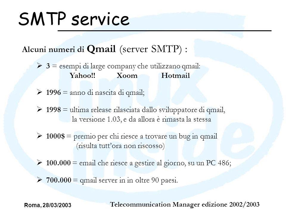 Roma, 28/03/2003 Telecommunication Manager edizione 2002/2003 SMTP service Alcuni numeri di Qmail (server SMTP) : 3 = esempi di large company che util
