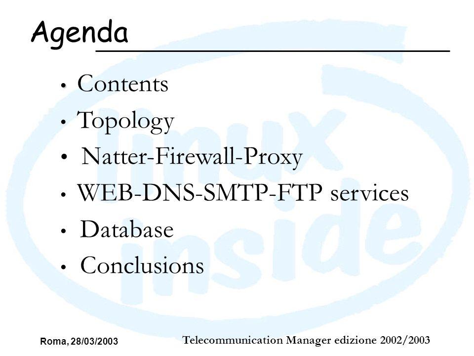 Roma, 28/03/2003 Telecommunication Manager edizione 2002/2003 FTP services Wu-ftpd Grazie al servizio ftp gli utenti corporate possono collegarsi al server, nella propria document root per inserire o modificare le proprie pagine Web; Attraverso OpenSSL abbiamo implementato la funzionalità di FTPs, cioè ftp sicuro.