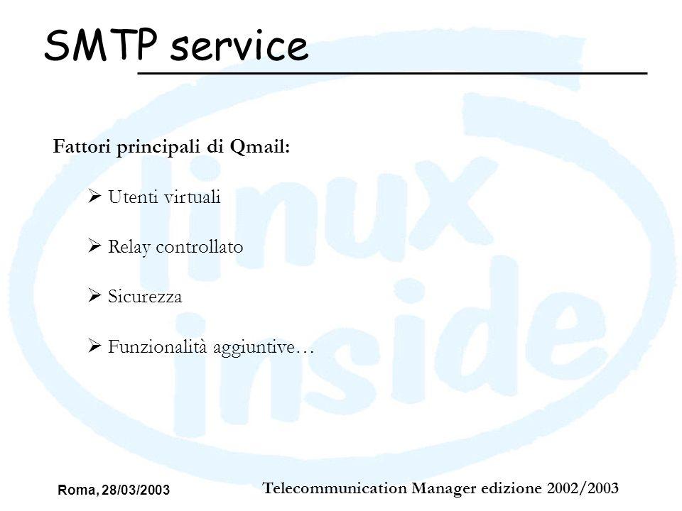 Roma, 28/03/2003 Telecommunication Manager edizione 2002/2003 SMTP service Fattori principali di Qmail: Utenti virtuali Relay controllato Sicurezza Fu