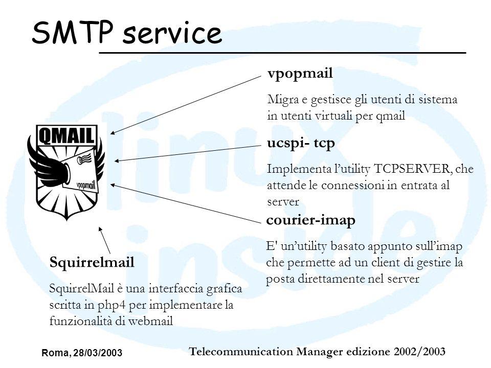 Roma, 28/03/2003 Telecommunication Manager edizione 2002/2003 SMTP service vpopmail Migra e gestisce gli utenti di sistema in utenti virtuali per qmai