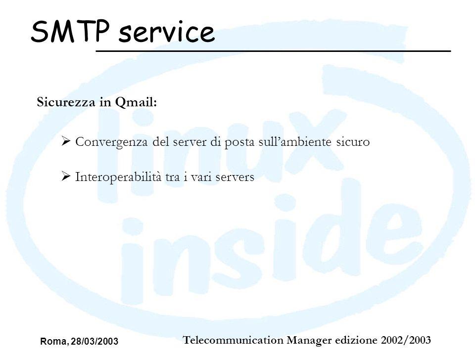 Roma, 28/03/2003 Telecommunication Manager edizione 2002/2003 SMTP service Sicurezza in Qmail: Convergenza del server di posta sullambiente sicuro Int