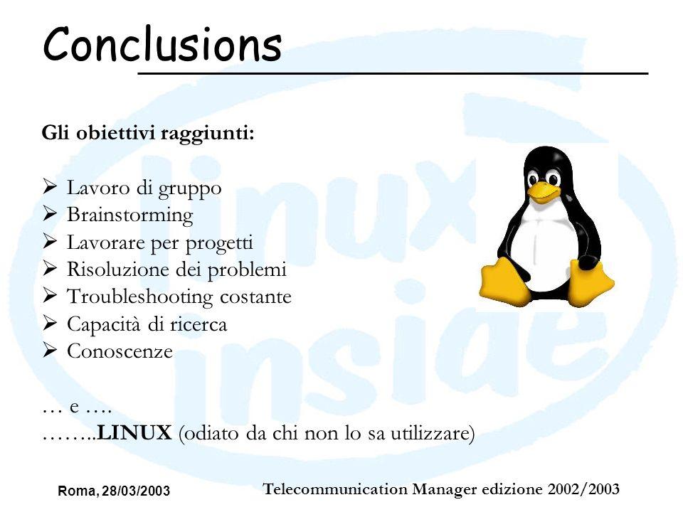 Roma, 28/03/2003 Telecommunication Manager edizione 2002/2003 Gli obiettivi raggiunti: Lavoro di gruppo Brainstorming Lavorare per progetti Risoluzion