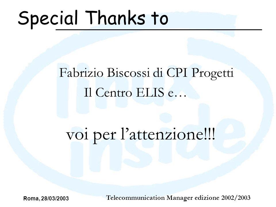 Roma, 28/03/2003 Telecommunication Manager edizione 2002/2003 Fabrizio Biscossi di CPI Progetti Il Centro ELIS e… voi per lattenzione!!! Special Thank