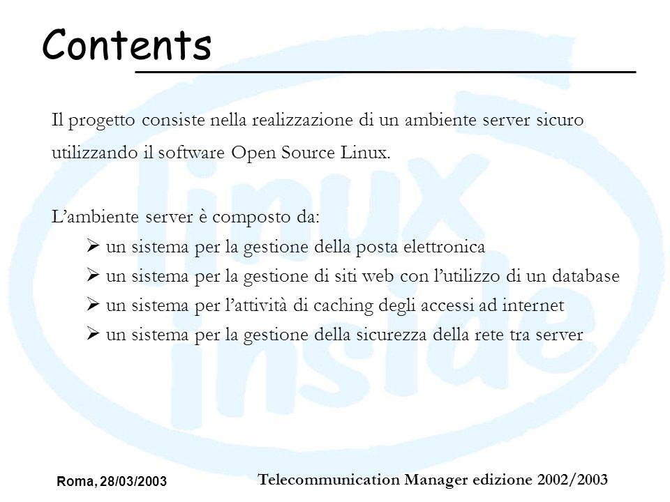 Roma, 28/03/2003 Telecommunication Manager edizione 2002/2003 Il Virtual hosting, più Web server eseguiti su di un singolo nodo (ossia più siti web ospitati su di un singolo nodo: Web hosting) WEB – Virtual Hosting