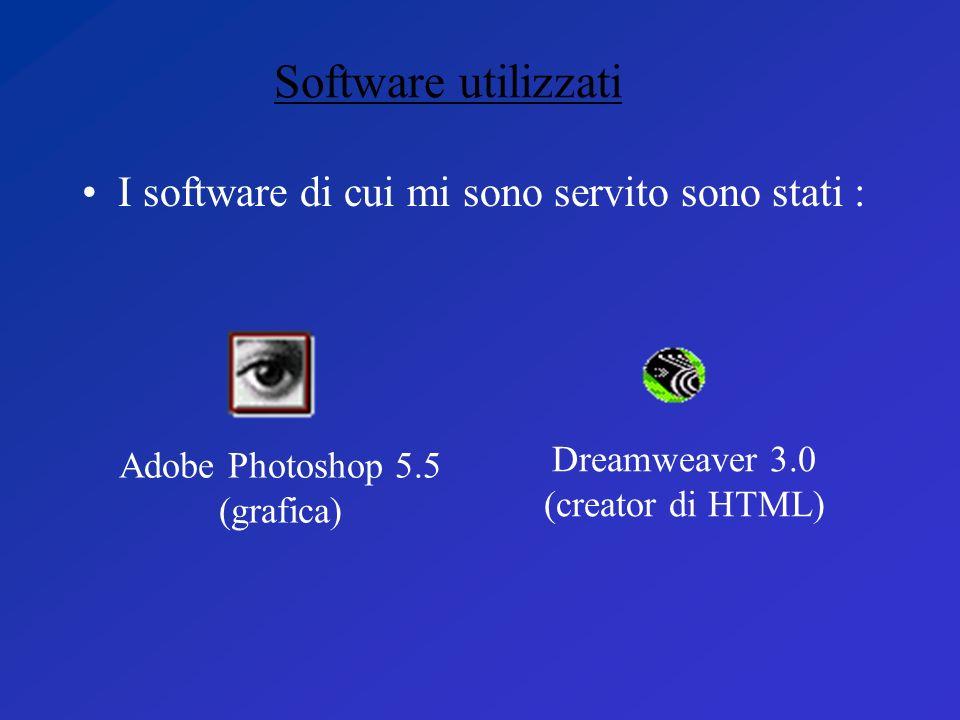 I software di cui mi sono servito sono stati : Software utilizzati Adobe Photoshop 5.5 (grafica) Dreamweaver 3.0 (creator di HTML)
