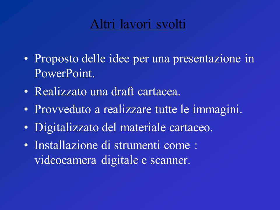 Proposto delle idee per una presentazione in PowerPoint. Realizzato una draft cartacea. Provveduto a realizzare tutte le immagini. Digitalizzato del m