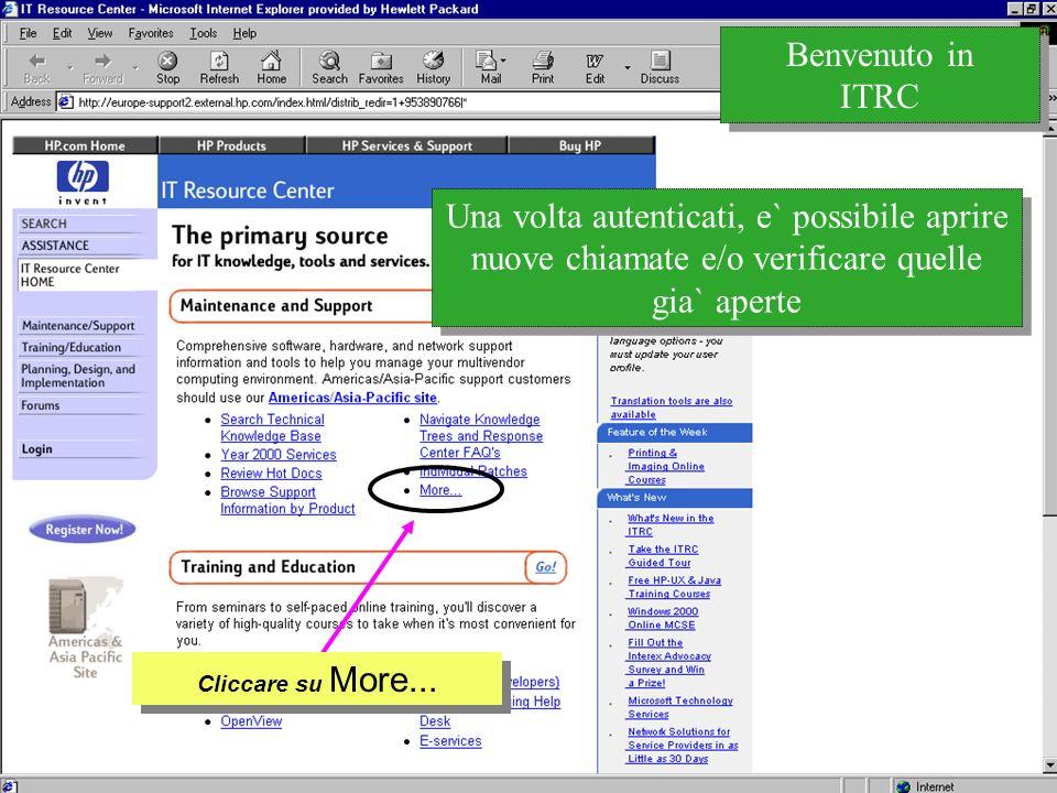 Customer Support Research & Development Una volta autenticati, e` possibile aprire nuove chiamate e/o verificare quelle gia` aperte Benvenuto in ITRC Cliccare su More...