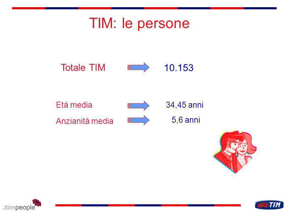 TIM: le persone Totale TIM 5,6 anni 10.153 Età media34,45 anni Anzianità media