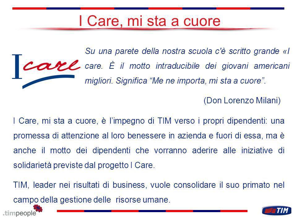 I Care, mi sta a cuore I Care, mi sta a cuore, è limpegno di TIM verso i propri dipendenti: una promessa di attenzione al loro benessere in azienda e fuori di essa, ma è anche il motto dei dipendenti che vorranno aderire alle iniziative di solidarietà previste dal progetto I Care.
