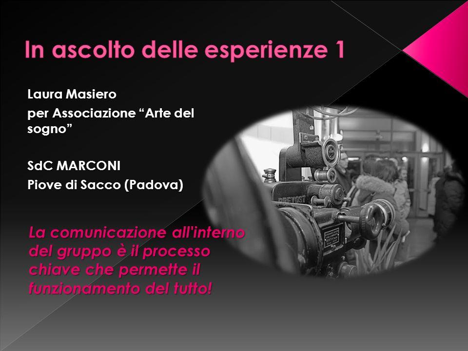 Laura Masiero per Associazione Arte del sogno SdC MARCONI Piove di Sacco (Padova) La comunicazione all interno del gruppo è il processo chiave che permette il funzionamento del tutto!