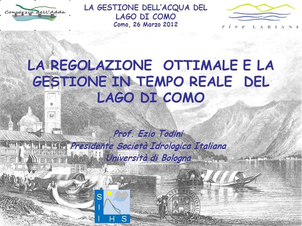 Il lago di COMO Superficie del bacino 4.552 km 2 Superficie del lago 145 km 2 Lunghezza 46 km Massima Profondità 410 m Afflusso medio annuo 5000 Mm 3 Volume di invaso 246 Mm 3 NOTA: il rapporto Vol.