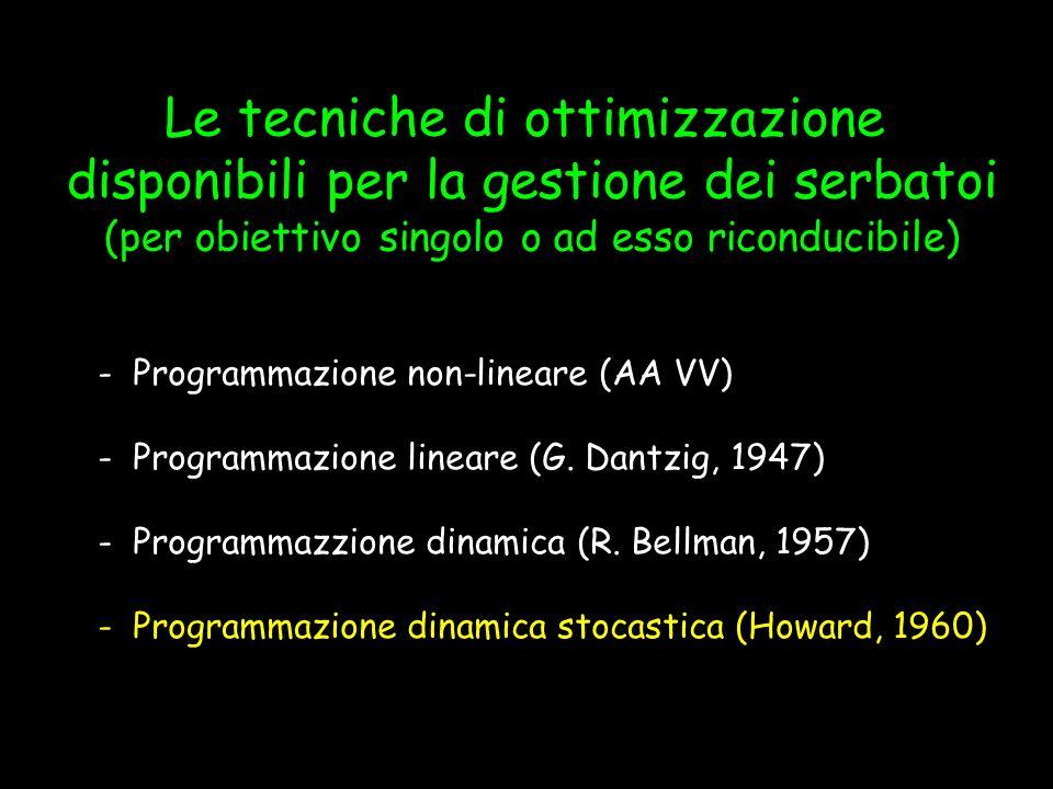 - Programmazione non-lineare (AA VV) - Programmazione lineare (G. Dantzig, 1947) - Programmazzione dinamica (R. Bellman, 1957) - Programmazione dinami