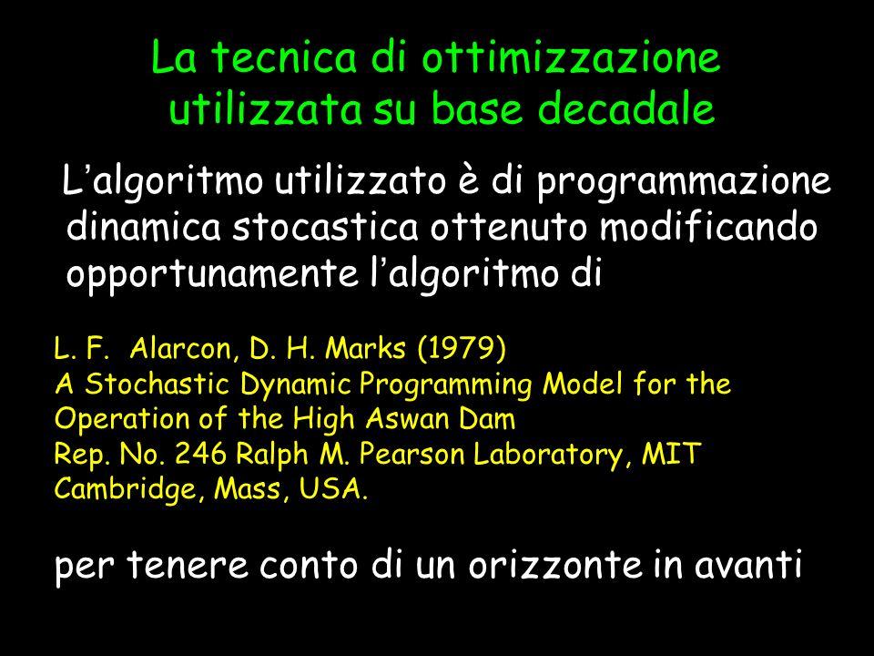 Programmazione Dinamica Stocastica ottimizzazione su base decadale Recursive equation Le equazioni di transizione dello stato ed i vincoli Lo schema di ottimizzazione di lungo periodo La funzione obiettivo