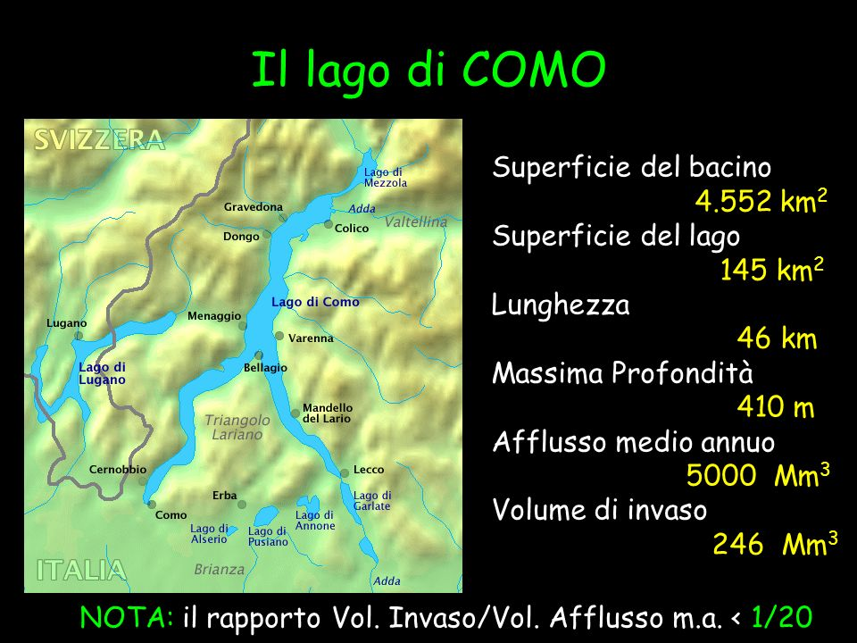 Il lago di COMO Superficie del bacino 4.552 km 2 Superficie del lago 145 km 2 Lunghezza 46 km Massima Profondità 410 m Afflusso medio annuo 5000 Mm 3