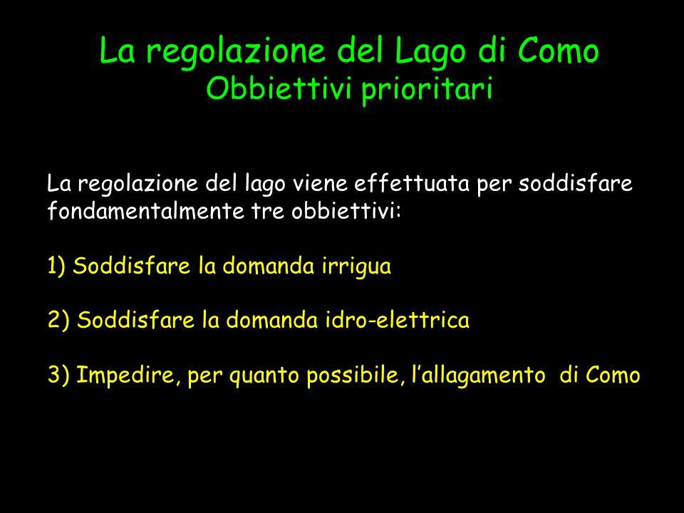 La regolazione del Lago di Como Obbiettivi prioritari La regolazione del lago viene effettuata per soddisfare fondamentalmente tre obbiettivi: 1) Sodd