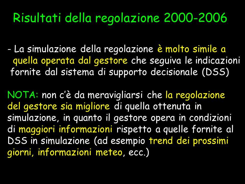 Risultati della regolazione 2000-2006 - La simulazione della regolazione è molto simile a quella operata dal gestore che seguiva le indicazioni fornit