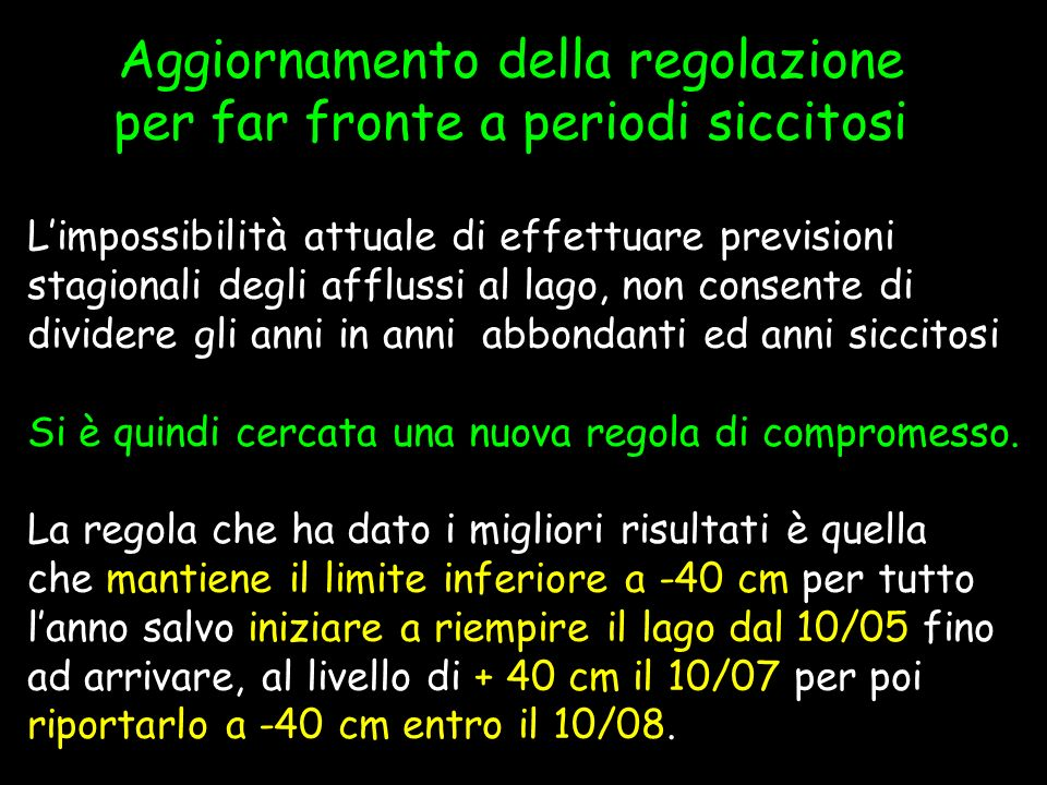 Risultati della regolazione SIMULAZIONE 2000- 2006Storici Lungo P.