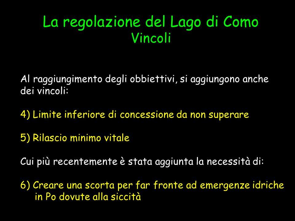 La regolazione del Lago di Como Vincoli Al raggiungimento degli obbiettivi, si aggiungono anche dei vincoli: 4) Limite inferiore di concessione da non