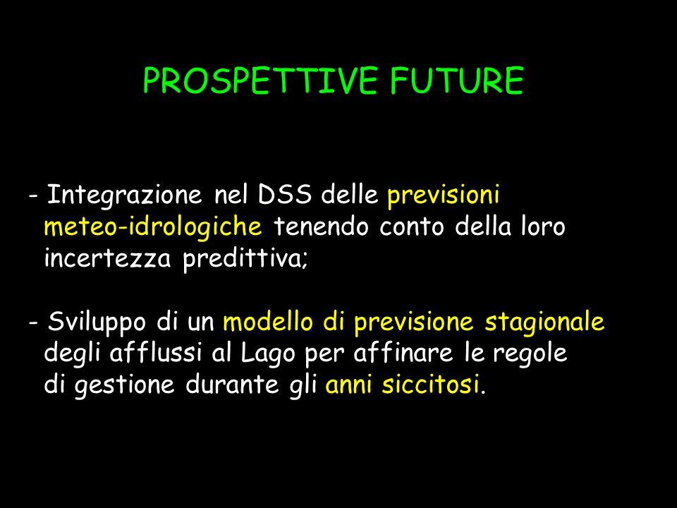 PROSPETTIVE FUTURE - Integrazione nel DSS delle previsioni meteo-idrologiche tenendo conto della loro incertezza predittiva; - Sviluppo di un modello