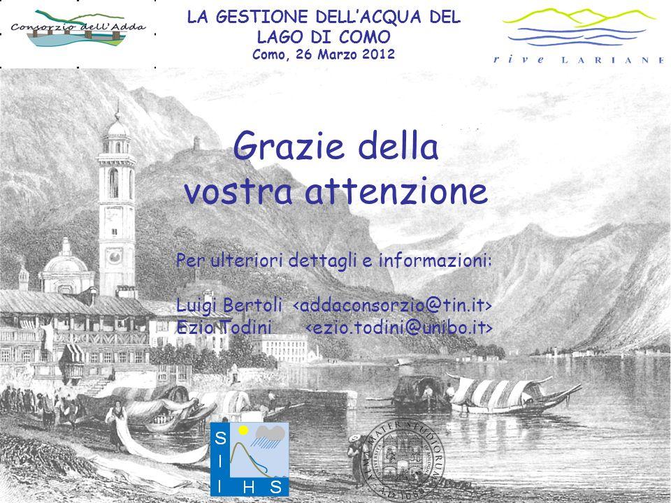Grazie della vostra attenzione Per ulteriori dettagli e informazioni: Luigi Bertoli Ezio Todini LA GESTIONE DELLACQUA DEL LAGO DI COMO Como, 26 Marzo