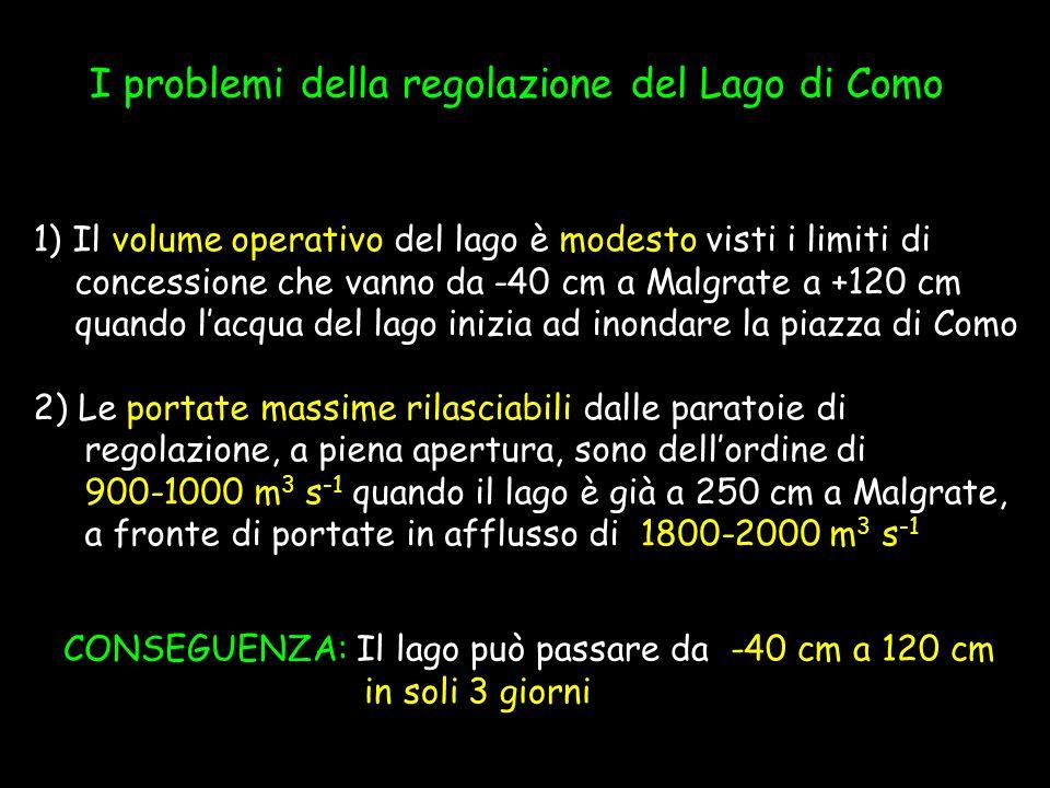 Deficit medio annuo di erogazione:839,33 Mm 3 Livello massimo raggiunto: 2,64 m Livello > 120 cm (acqua in piazza) 1028 giorni Livello > 140 cm (traffico fermo) 255 giorni Livello > 173 cm (piena ordinaria) 84 giorni La regolazione del Lago di Como Statistiche nel periodo 1961-1995