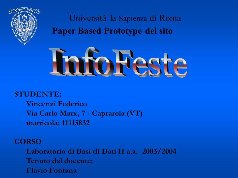 Università la Sapienza di Roma STUDENTE: Vincenzi Federico Via Carlo Marx, 7 - Caprarola (VT) matricola: 11115832 CORSO Laboratorio di Basi di Dati II a.a.