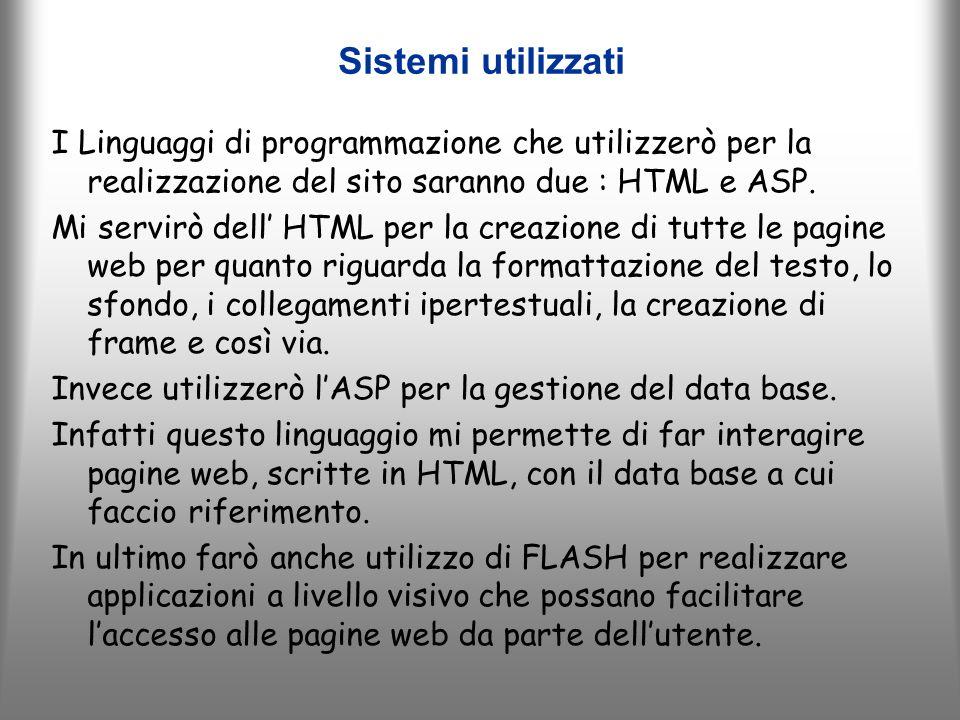 Sistemi utilizzati I Linguaggi di programmazione che utilizzerò per la realizzazione del sito saranno due : HTML e ASP.