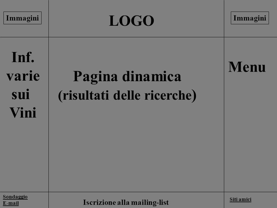 LOGO Sondaggio E-mail Siti amici Pagina dinamica (risultati delle ricerche ) Menu Inf. varie sui Vini Iscrizione alla mailing-list Immagini Layout