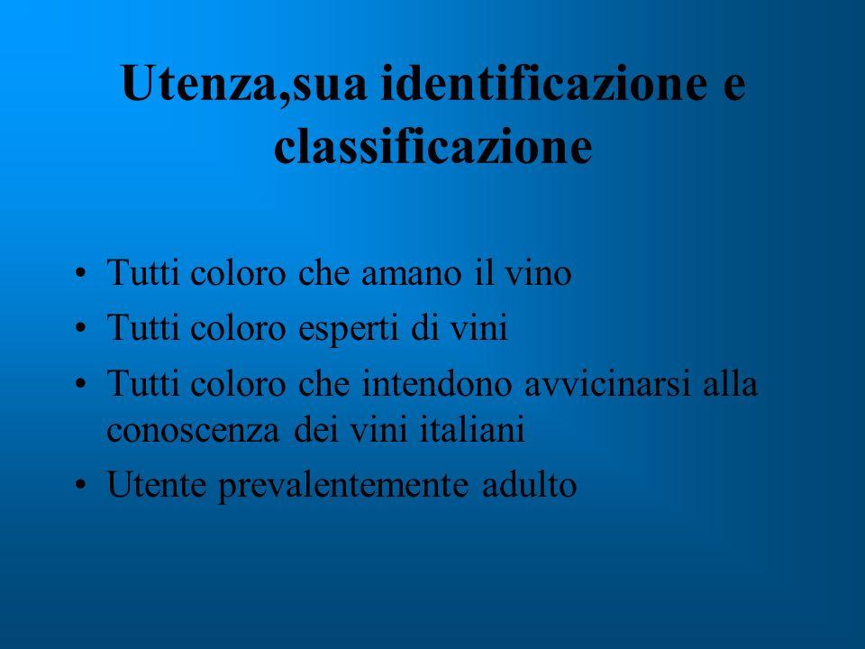 Utenza,sua identificazione e classificazione Tutti coloro che amano il vino Tutti coloro esperti di vini Tutti coloro che intendono avvicinarsi alla conoscenza dei vini italiani Utente prevalentemente adulto