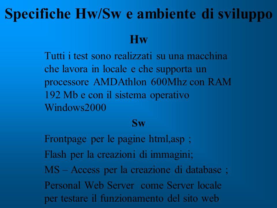 Specifiche Hw/Sw e ambiente di sviluppo Hw Tutti i test sono realizzati su una macchina che lavora in locale e che supporta un processore AMDAthlon 60