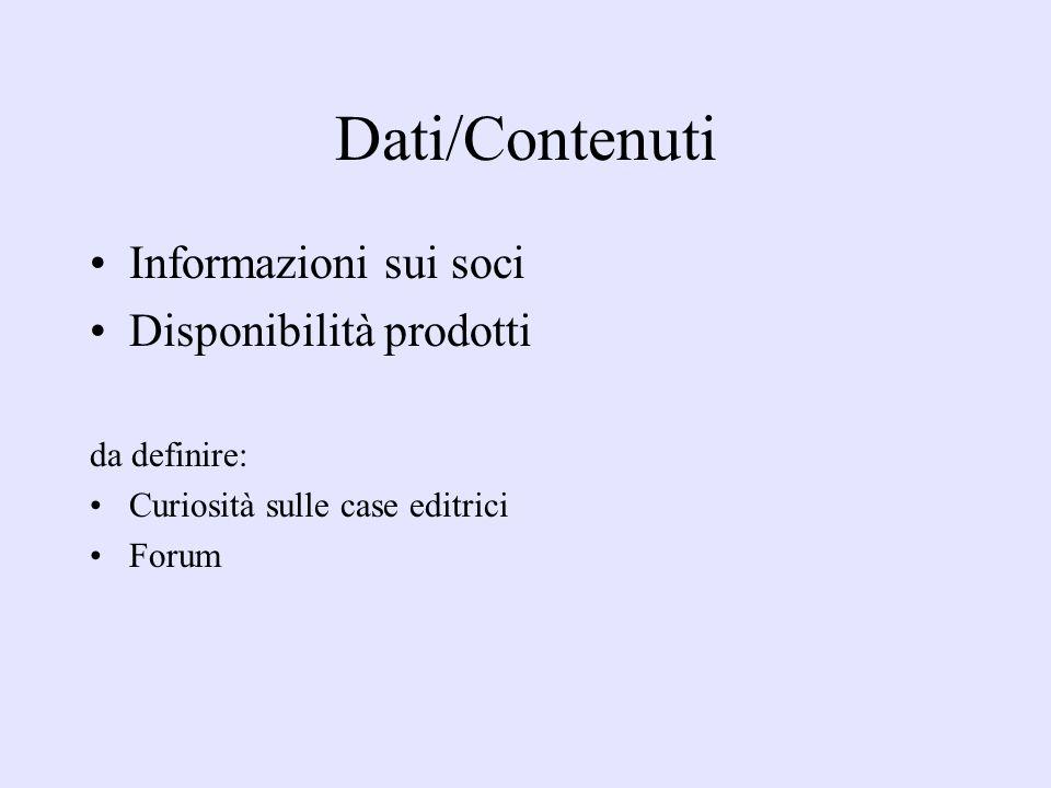 Dati/Contenuti Informazioni sui soci Disponibilità prodotti da definire: Curiosità sulle case editrici Forum
