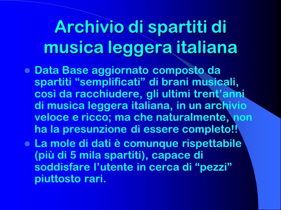 Archivio di spartiti di musica leggera italiana Data Base aggiornato composto da spartiti semplificati di brani musicali, così da racchiudere, gli ult