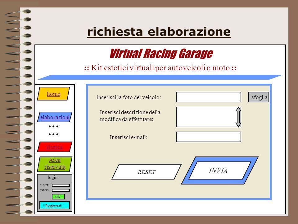 richiesta elaborazione Virtual Racing Garage :: Kit estetici virtuali per autoveicoli e moto :: RESET INVIA home elaborazioni ricerca Area riservata … … login pass user ok !!Registrati!.