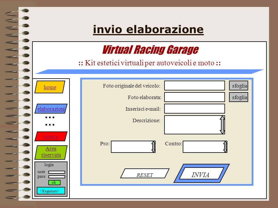 invio elaborazione Virtual Racing Garage :: Kit estetici virtuali per autoveicoli e moto :: RESET INVIA home elaborazioni ricerca Area riservata … … login pass user ok !!Registrati!.