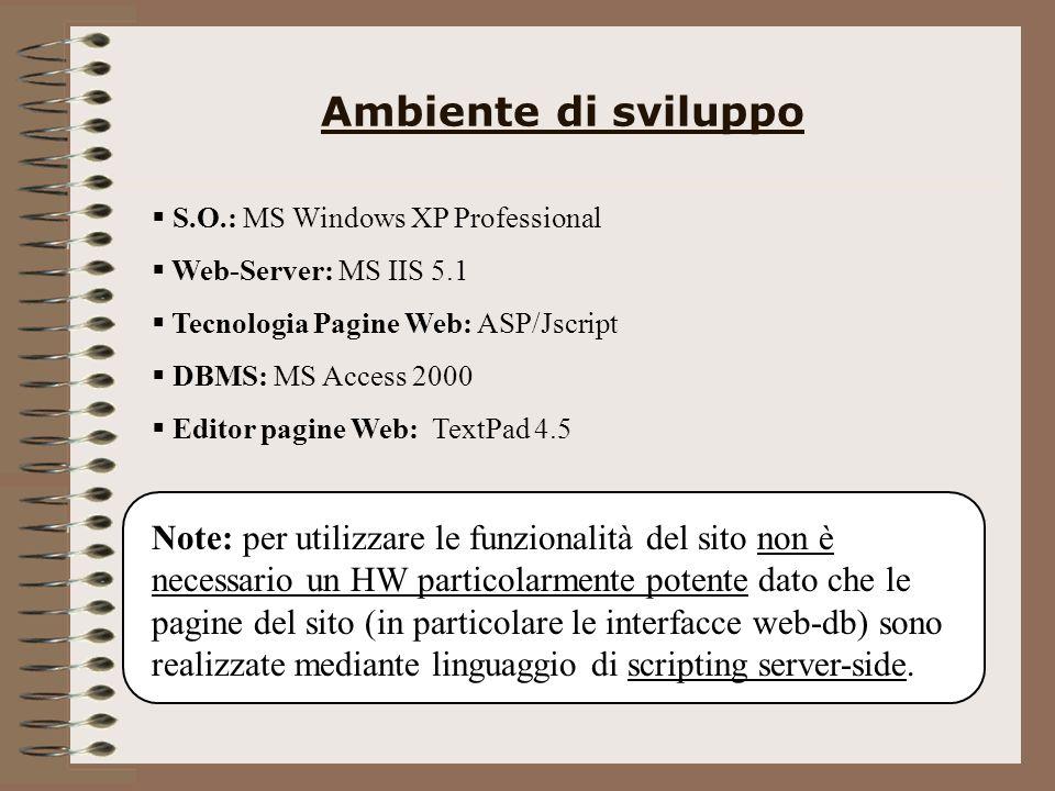 Ambiente di sviluppo S.O.: MS Windows XP Professional Web-Server: MS IIS 5.1 Tecnologia Pagine Web: ASP/Jscript DBMS: MS Access 2000 Editor pagine Web: TextPad 4.5 Note: per utilizzare le funzionalità del sito non è necessario un HW particolarmente potente dato che le pagine del sito (in particolare le interfacce web-db) sono realizzate mediante linguaggio di scripting server-side.