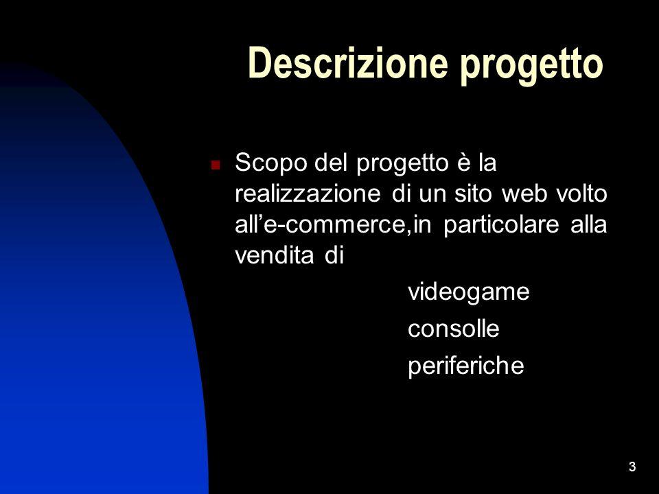 3 Descrizione progetto Scopo del progetto è la realizzazione di un sito web volto alle-commerce,in particolare alla vendita di videogame consolle peri