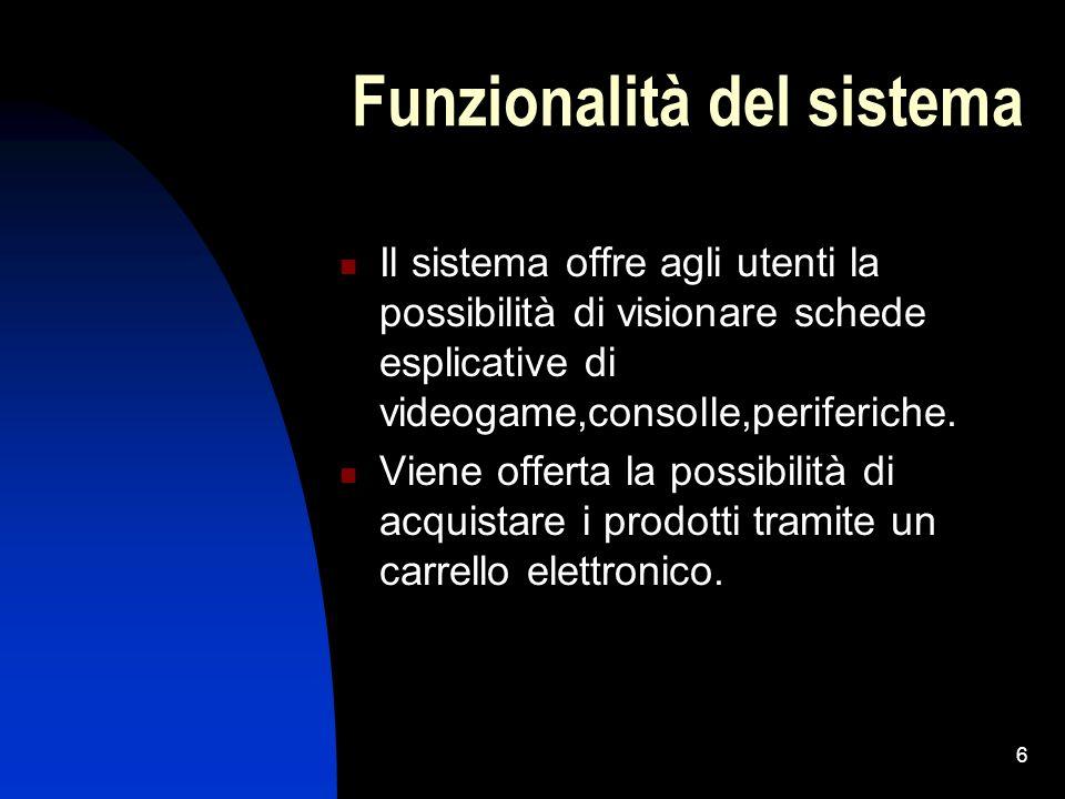 6 Funzionalità del sistema Il sistema offre agli utenti la possibilità di visionare schede esplicative di videogame,consolle,periferiche. Viene offert