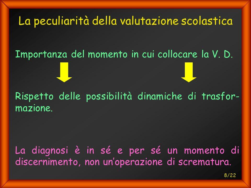 8/22 La peculiarità della valutazione scolastica Importanza del momento in cui collocare la V.