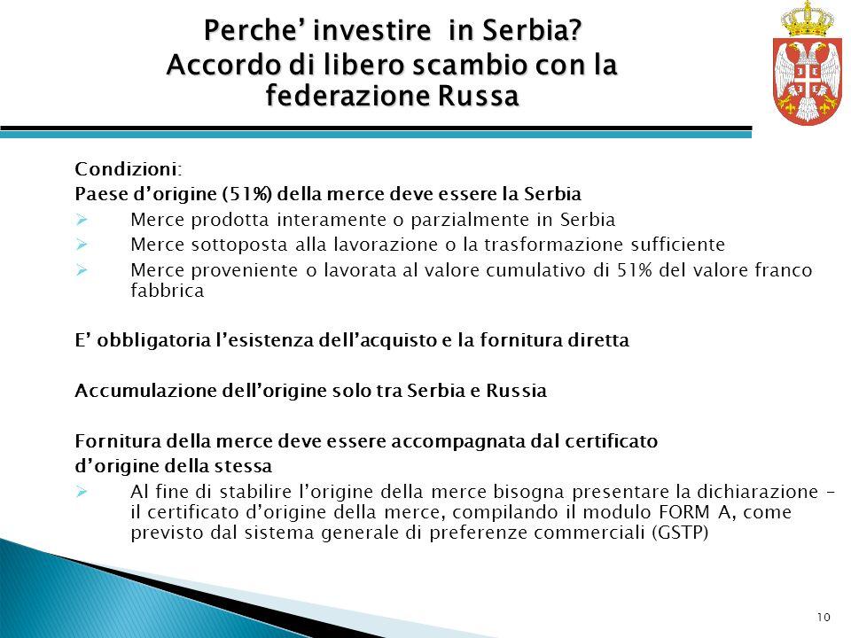 Condizioni: Paese dorigine (51%) della merce deve essere la Serbia Merce prodotta interamente o parzialmente in Serbia Merce sottoposta alla lavorazio