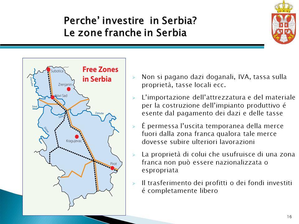 Free Zones in Serbia Non si pagano dazi doganali, IVA, tassa sulla proprietà, tasse locali ecc. Limportazione dellattrezzatura e del materiale per la