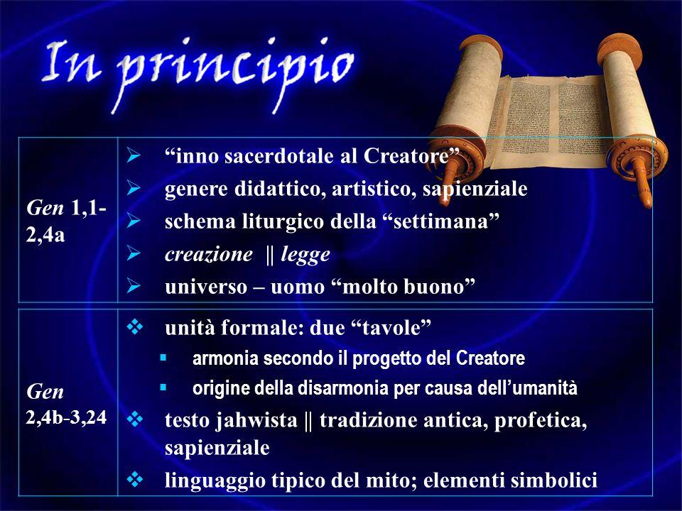 Gen 1,1- 2,4a inno sacerdotale al Creatore genere didattico, artistico, sapienziale schema liturgico della settimana creazione || legge universo – uom