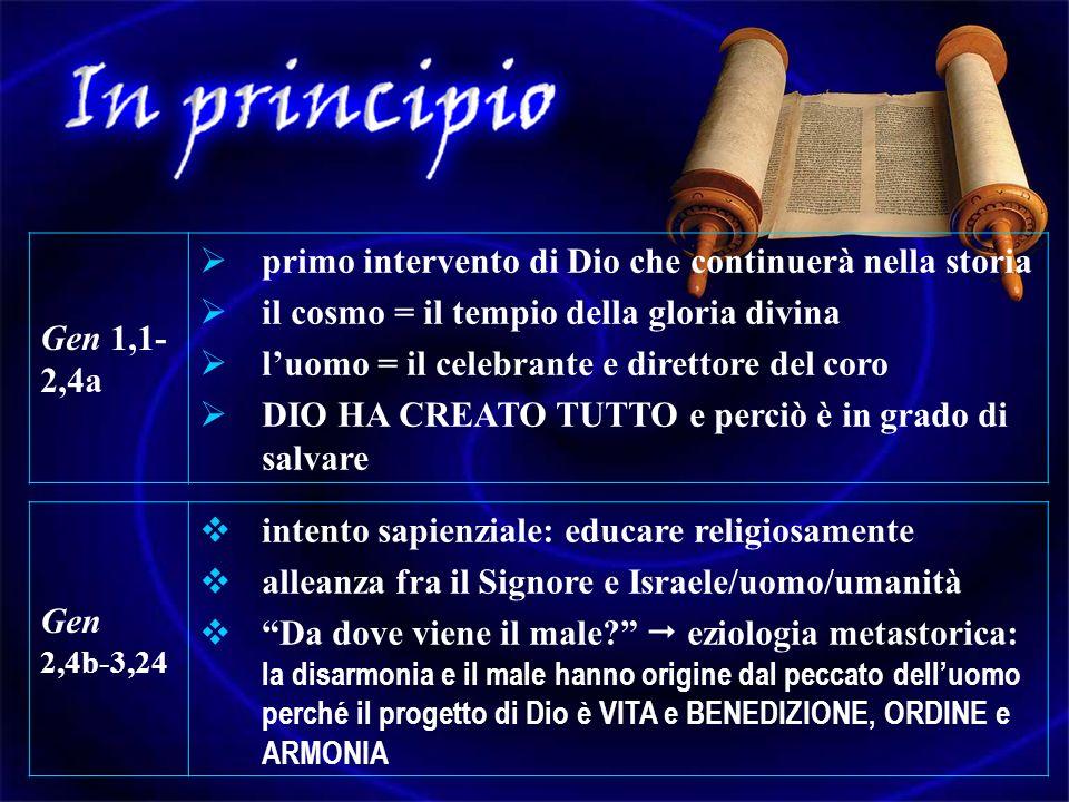 Gen 1,1- 2,4a primo intervento di Dio che continuerà nella storia il cosmo = il tempio della gloria divina luomo = il celebrante e direttore del coro